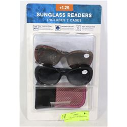 2 PACK SUNGLASS READERS WITH CASE +1.25