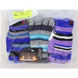3PK KIDS HEAT WAVE GLOVES