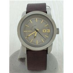 NEW DIESEL 46MM GREY DIAL LEATHER STRAP MSRP $219