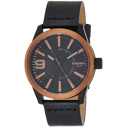 NEW DIESEL BLACK DIAL / BLK LEATHER BAND MSRP $225