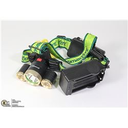 TRI-LED HEADLAMP WITH LITHIUM ION BATTERIES AND