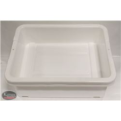 "LOT OF 2 NEW 5"" DEEP WHITE TOTE BOXES / BUS PANS"