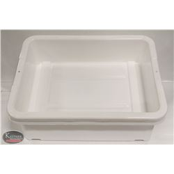 """LOT OF 2 NEW 5"""" DEEP WHITE TOTE BOXES / BUS PANS"""