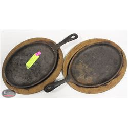 "LOT OF TWO 15"" X 7"" CAST IRON  SKILLET W/ WOODEN"