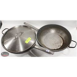 """TWO 13"""" GREEN PANS W/ ONE LID"""