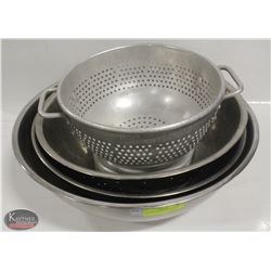 TWO STAINLESS STEEL BOWLS W/ 2 COLANDERS