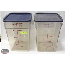 TWO CAMBRO 16QT DRY INGREDIENT BINS W/ LIDS