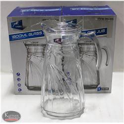 LOT OF 2 NEW 1800ML GLASS PITCHERS W/ LIDS