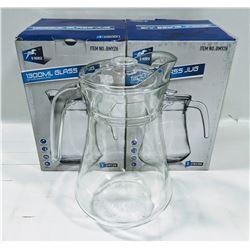 LOT OF 2 NEW 1300ML GLASS PITCHERS W/ LIDS