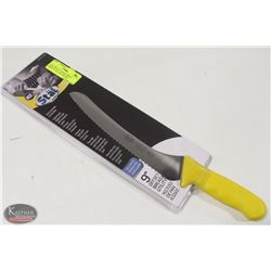 """NEW WINCO 9"""" OFFSET BREAD KNIFE W/ YELLOW HANDLE"""