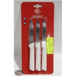 "NEW 3 PK OF MUNDIAL 4"" PARING KNIVES W/ WHITE"