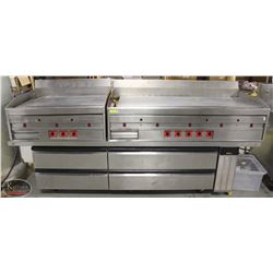8' S/S COMMERCIAL GRILL LINE W/ CHEF'S BASE - 3 PC