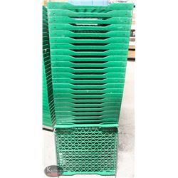 "STACK OF 32 GREEN BREAD TRAYS W/ CART 25""X23.5"""