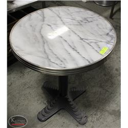 ROUND WHITE GRANITE TOP TABLE W/ BLACK METAL