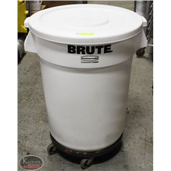WHITE BIG BRUTE WASTE CONTAINER W/ LID & DOLLY