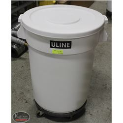 WHITE ULINE WASTE CONTAINER W/ LID & DOLLY