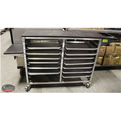COMMERCIAL FOOD SERVICE CART FULL OF 1/2 PANS
