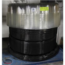 STACK OF MANY PLASTIC CATERING TRAYS, SOME W/ LIDS