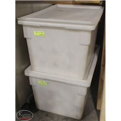TWO LARGE CAMBRO TOTES W/ REVERSIBLE LIDS FULL OF