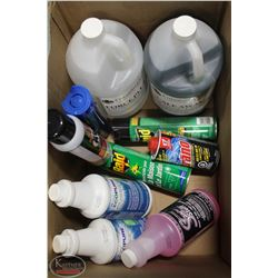 BOX OF ASSORTED CLEANING SUPPLIES