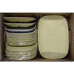 """BOX OF APPROX 55 MELAMINE SERVING TRAYS 13""""X9"""""""