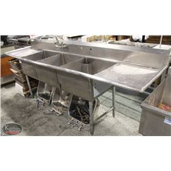 STAINLESS STEEL 3-WELL SINK W/ FAUCET & TWO
