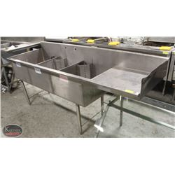 S/S 3 WELL SINK WITH DRAINBOARD