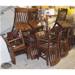GROUP OF 15 BROWN SOLID WOOD CHAIRS