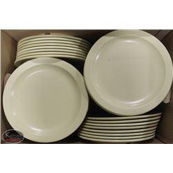"BOX OF MANY MELAMINE 10"" DINNER PLATES"