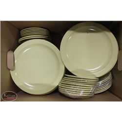 "BOX OF 10"" MELAMINE DINNER PLATES W/ ASSORTED SIDE"