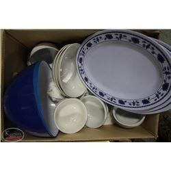 BOX OF ASSORTED PORCELAIN DISHWARE & PLASTIC