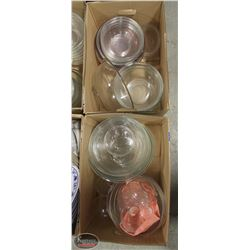 LOT OF 2 BOXES OF ASSORTED GLASS BOWLS
