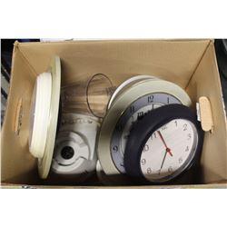 BOX W/ ASSORTED CLOCKS & HOUSEHOLD BLENDER