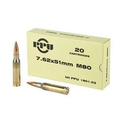 PPU 7.62X51 145GR M80 FMJBT - 20 Rds