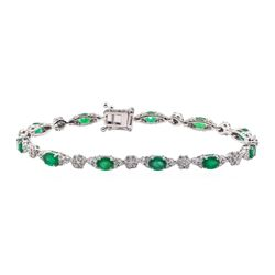 3.58 ctw Emerald and Diamond Bracelet - 14KT White Gold