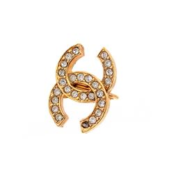 Chanel Vintage Gold Rhinestone CC Clip On Earrings