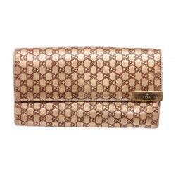 Gucci Gold Leather Mini Guccissima Flap Wallet