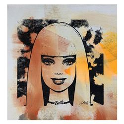 """Gail Rodgers, """"Barbie"""" Hand Signed Original Hand Pulled Silkscreen Mixed Media o"""