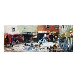 "Shalva Phachoshvili, ""Old Street"" Hand Signed Original Oil on Canvas; COA"