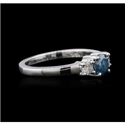 14KT White Gold 0.91 ctw Blue Diamond Ring