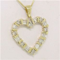 14K Solid Yellow Gold .70CTW Round & Baguette Diamond Heart Pendant on Box Chain