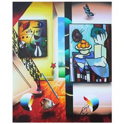 "Ferjo, ""Picassso and Fruit"" Original Painting on Canvas, Hand Signed with Letter"