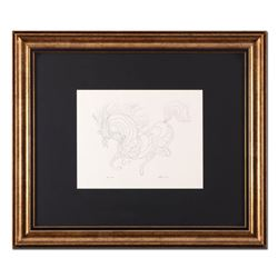 "Guillaume Azoulay, ""Sketch AZA"" Framed Original Drawing, Hand Signed with Letter"