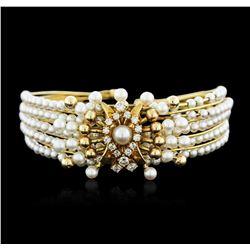 14KT Yellow Gold Pearl and Diamond Bangle Bracelet