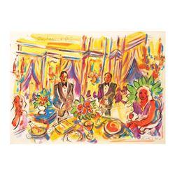 "Wayne Ensrud ""Restaurant Pic"" Mixed Media Original Artwork; Hand Signed; COA"