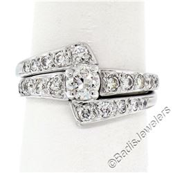Vintage 14kt White Gold 1.06 ctw Round Diamond Engagement Ring and Nested Weddin