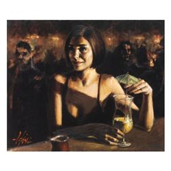 """Fabian Perez, """"Cocktail In Maui"""" Hand Textured Limited Edition Giclee on Canvas."""