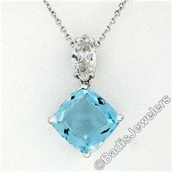 14kt White Gold 4.12 ctw Cushion Aquamarine & Marquise Diamond Dangle Pendant