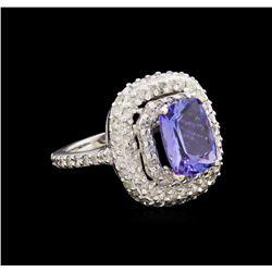 14KT White Gold 3.18 ctw Tanzanite and Diamond Ring