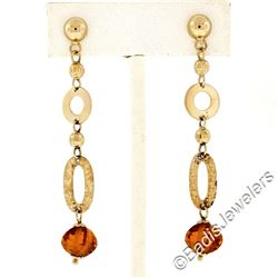 14kt Yellow Gold Polished and Textured Link Briolette Bead Citrine Dangle Earrin